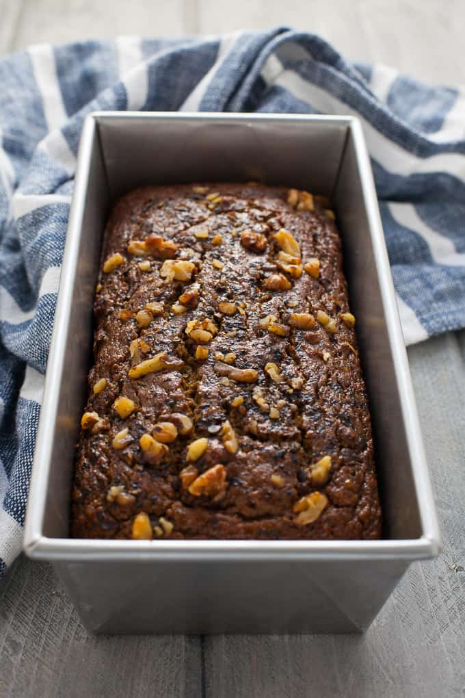 This whole-wheat pumpkin chocolate chip zucchini bread is easy to make and delicious for breakfast or snack or dessert!