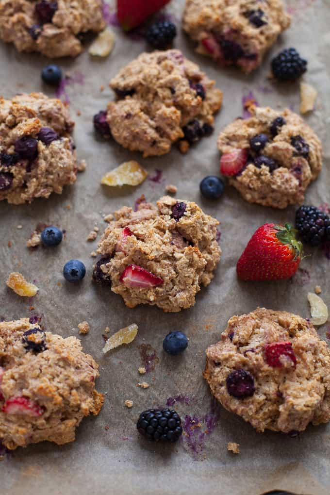 Healthy Triple Berry Ginger Scones