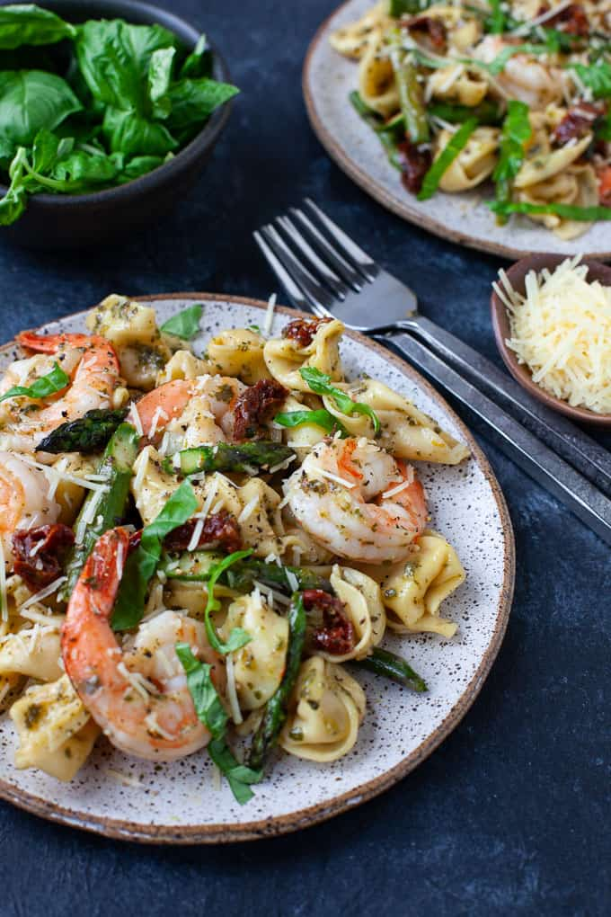 Three Cheese Tortellini with Pesto Shrimp and Asparagus