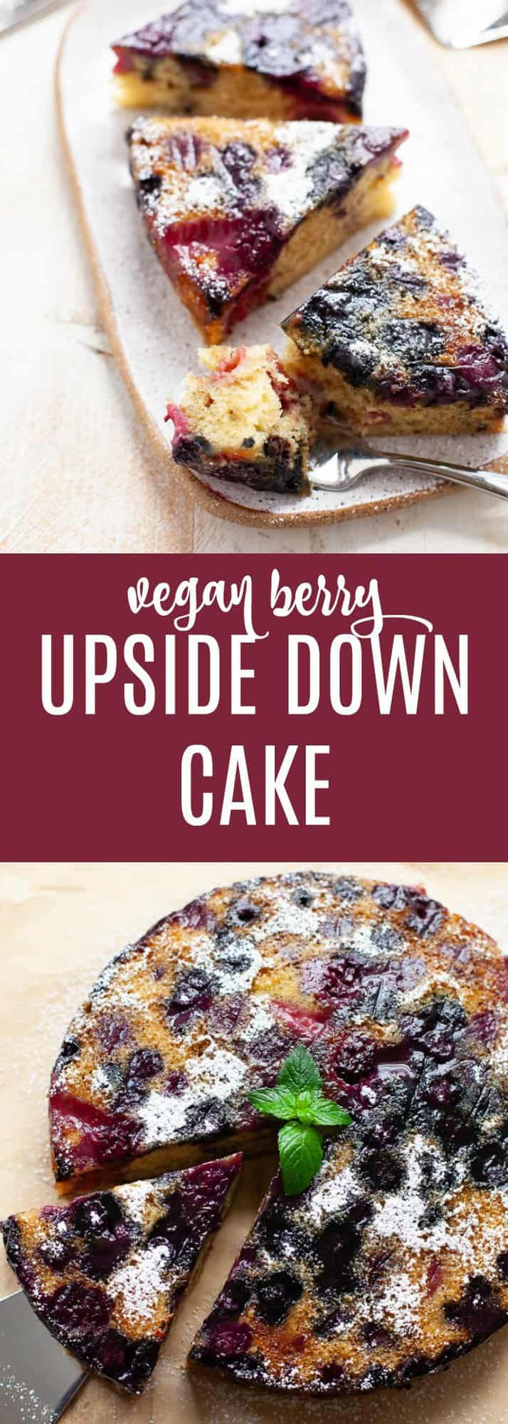 The perfect addition to your end-of-Summer gathering or companion to a cup of afternoon tea, this vegan berry upside down cake is dense, spongy, and combines fresh flavors such as olive oil and mint into a sweet symphony. #vegan