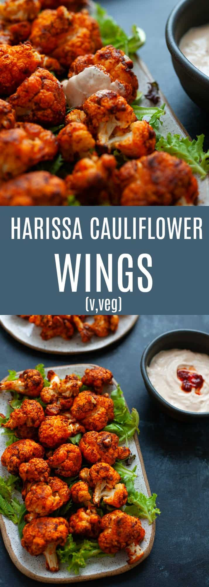 Spicy, smoky and totally satisfying, these harissa cauliflower wings are about to blow your mind. #vegetarian #harissa #middleeastern #vegan