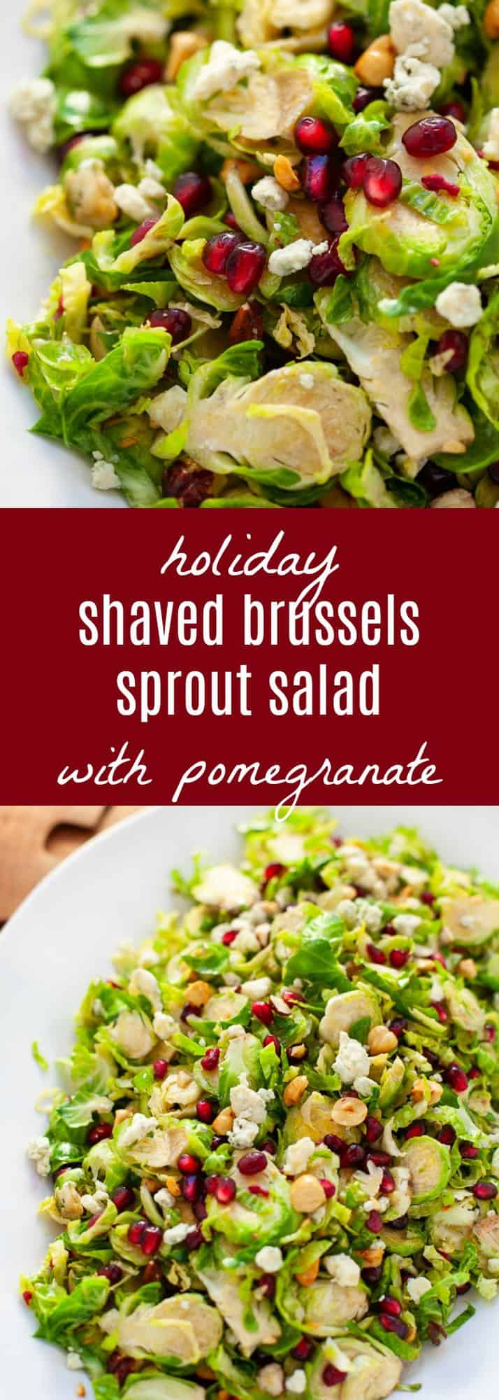 Looking for a festive salad to serve up this holiday season? You and your guests will love my easy and delicious shaved Brussels sprout salad with pomegranate with a citrus vinaigrette.#holiday #salad