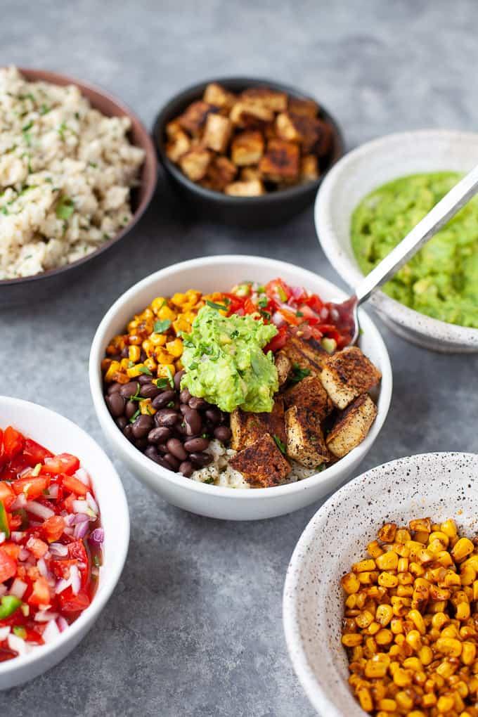 chipotle inspired vegetarian burrito bowl with tofu