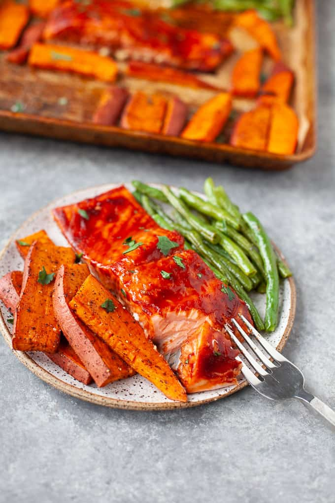 BBQ salmon with sweet potato and green beans