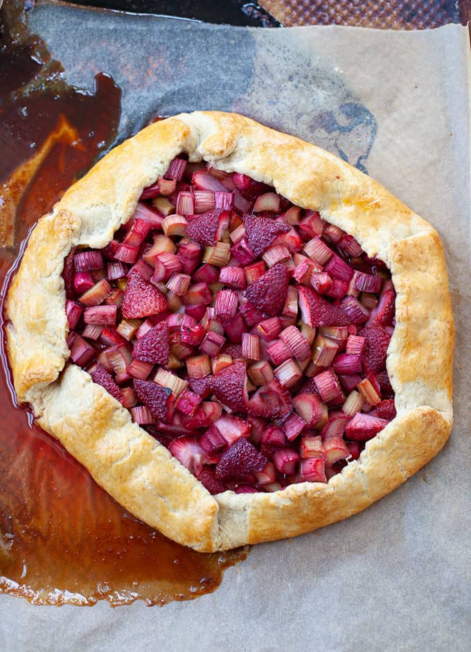 strawberry rhubarb galette fresh out of the oven