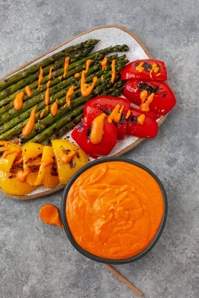 grilled peppers and asparagus served with romesco sauce
