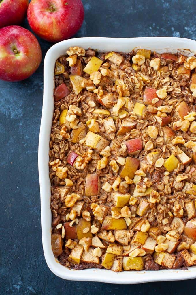 baked apple oatmeal in baking dish