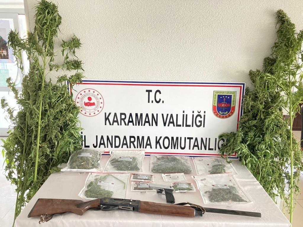 Karaman'da jandarmanın esrar operasyonunda 3 kişi gözaltına alındı