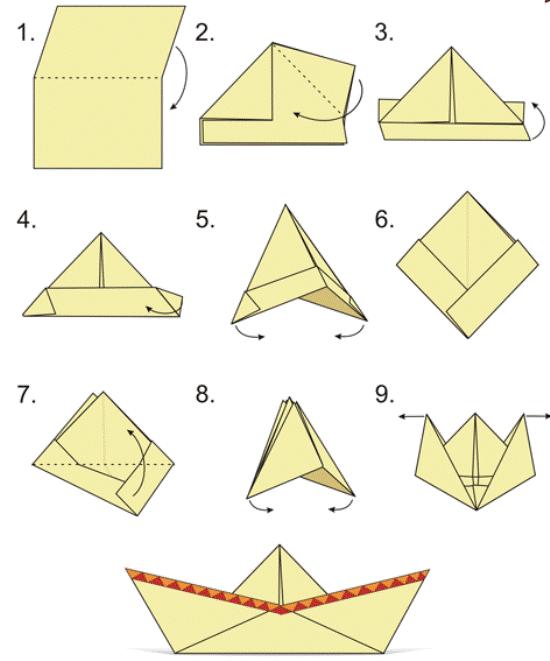 Hoe maak je een boot van papier? Instructie opvouwbare papierboot Doe het zelf fase 40