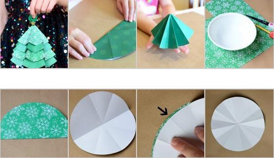 Tělor strom z papíru & # 8212; Schémata a šablony vytvořit vánoční strom s vlastními fází rukou 24