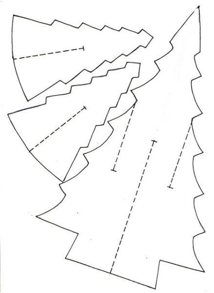 Қағаздан жасалған дене ағашы & # 8212; Схемалар мен трафареттер Сіз өзіңіздің қолыңызбен шырша жасау үшін