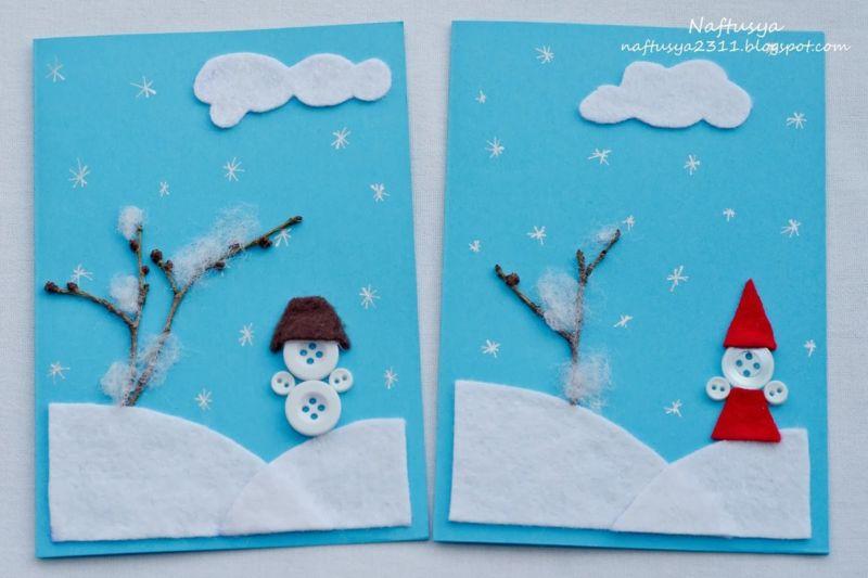 کارت پستال های سال نو آن را برای کودکان انجام می دهند: کلاس های کارشناسی ارشد و قالب های کارت پستال برای سال جدید 2021 مرحله 161
