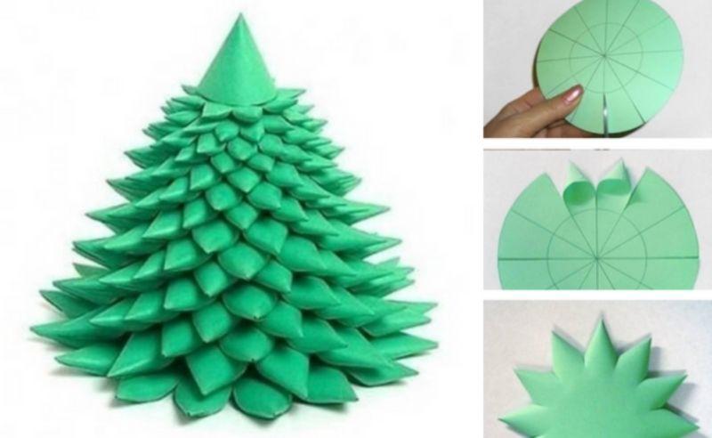 Tělor strom z papíru & # 8212; Schémata a šablony k vytvoření vánočního stromu s vlastní fází rukou 16