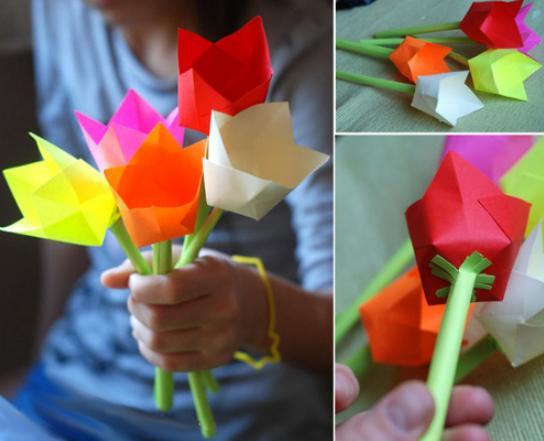 Paper Flowers & # 8212; Mga scheme at mga template para sa paglikha ng mga kulay ng papel na yugto 72.