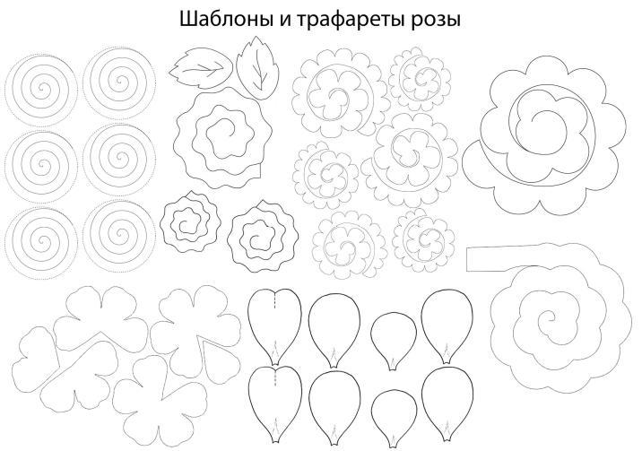 Paper Flowers & # 8212; Mga scheme at mga template para sa paglikha ng mga kulay ng papel na yugto 143.