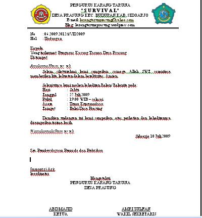Contoh Surat Undangan Rapat Karang Taruna Doc Sample Surat Undangan