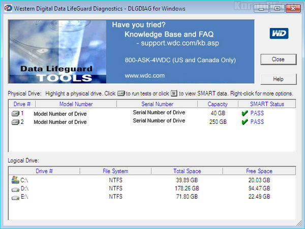 Western Digital Data Lifeguard Diagnostics