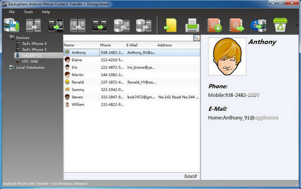 Backuptrans Android iPhone Contacts Transfer