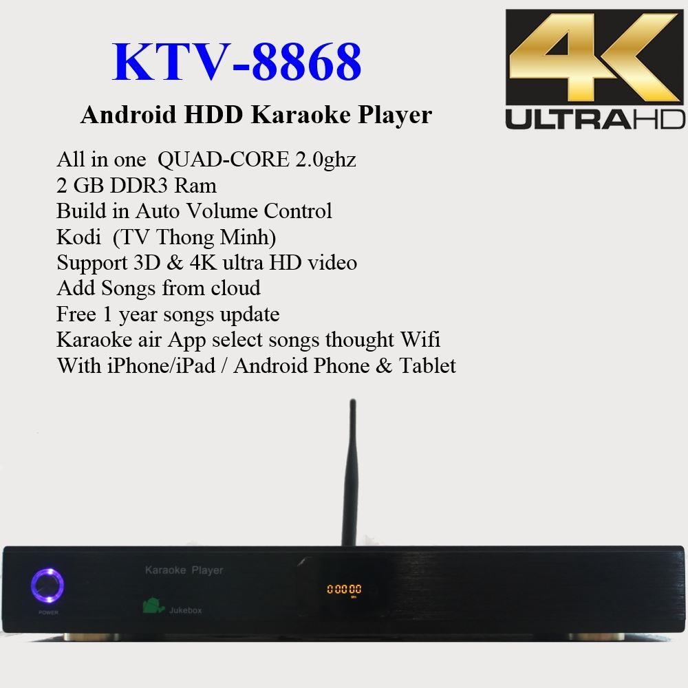 Android KTV-8868 4 4 HD karaoke player HDMI 1080P with Auto Volume Control  37000+ song