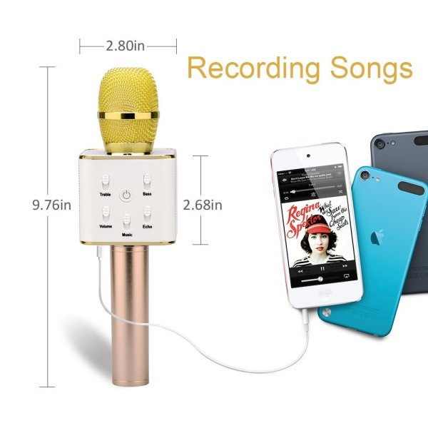 Wireless Karaoke Microphone 3-in-1 Gold Microphone Portable Built-in Bluetooth Speaker Machine for iPhone Apple Android PC and Smartphone-157