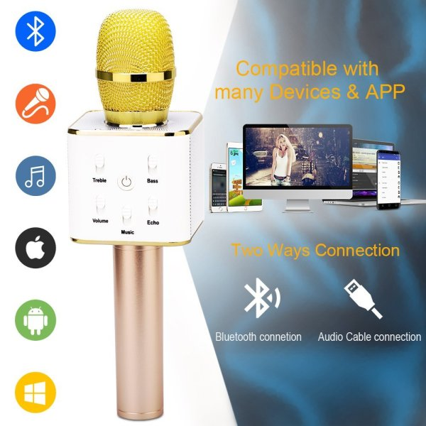 Wireless Karaoke Microphone 3-in-1 Gold Microphone Portable Built-in Bluetooth Speaker Machine for iPhone Apple Android PC and Smartphone-159
