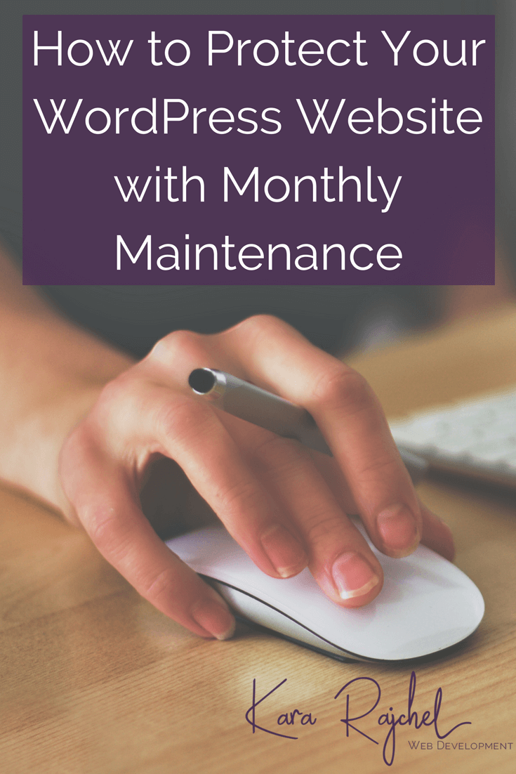 Protect your WordPress website with monthly maintenance. Don't let unexpected downtime turn your business upside down! Monthly maintenance will keep your website up and running securely, and give you peace of mind. Plus get your own free WordPress maintenance checklist!