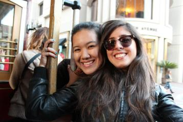 Chiara and I aboard the cable car from Hyde to Powell.