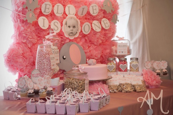 Kara's Party Ideas Pink Elephant 1st Birthday Party  Kara