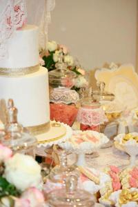 Kara's Party Ideas Vintage Peach Gold Baby Shower Planning ...