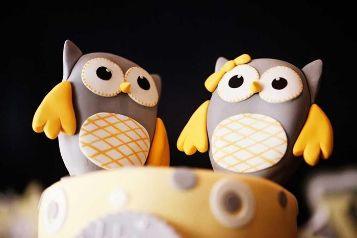 Karas Party Ideas Owl Yellow Grey Gray Twin Baby Shower