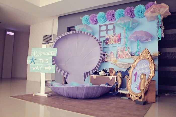 clam shell chair genuine leather dining chairs kara's party ideas » mermaids vs. pirates themed birthday with lots of really cute ...