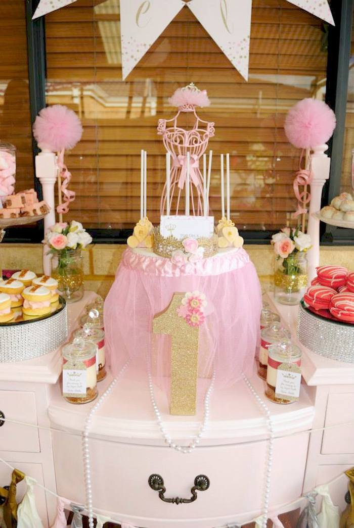 Karas Party Ideas Glitter Gold Pink Princess 1st Birthday