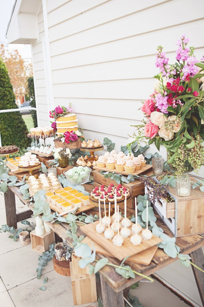 Kara's Party Ideas Rustic Bridal Shower via Kara's Party
