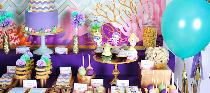 Karas Party Ideas Bubble Guppies Inspired Birthday Party Decor Styling Ideas