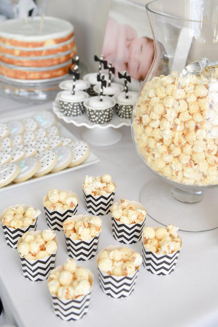 Kara's Party Ideas Black & White Bow Tie Themed Birthday