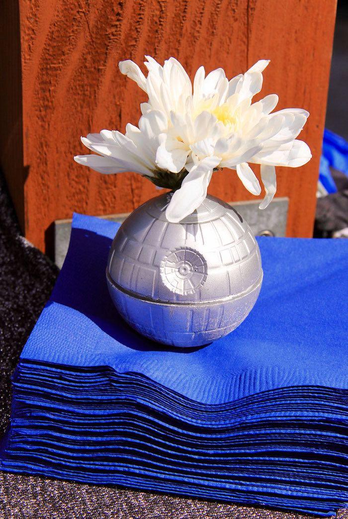 Karas Party Ideas Death Star Floral PropNapkin Weight from a Star Wars Birthday Party via Kara