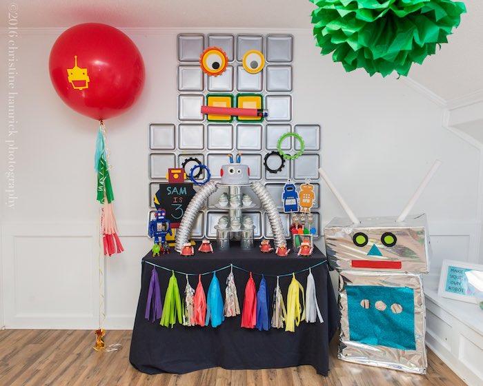 Kara's Party Ideas Colorful Robot Birthday Party Kara's