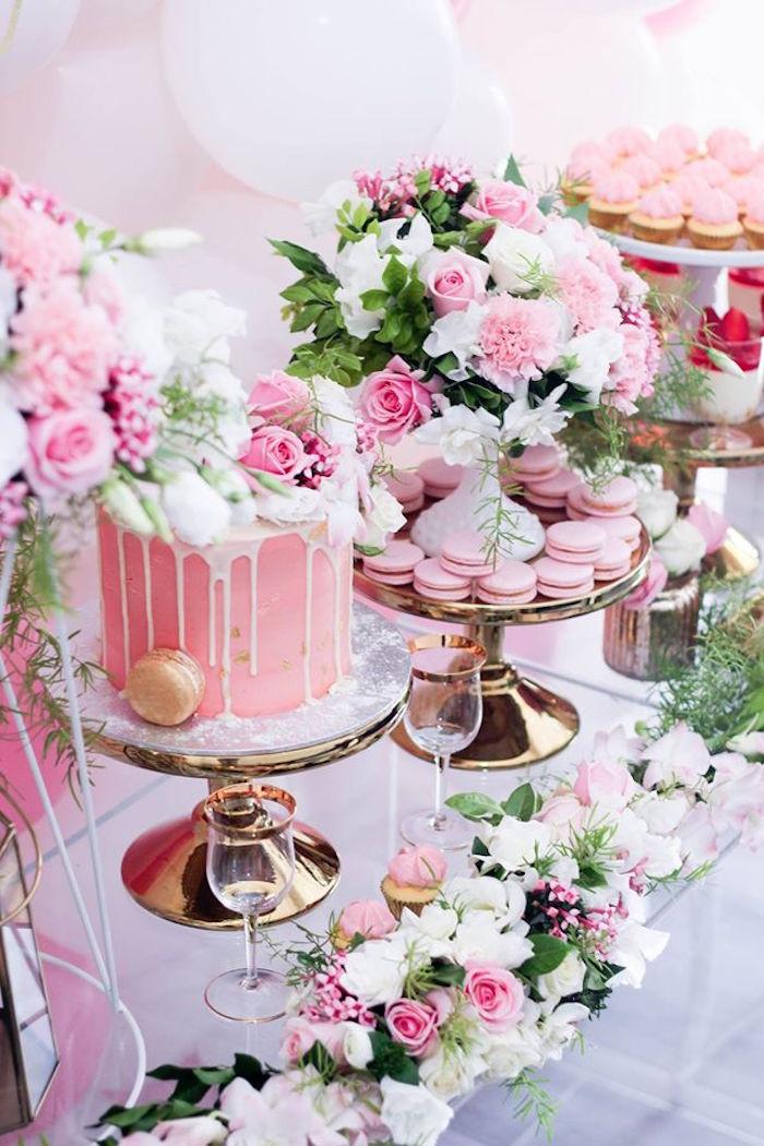 Kara's Party Ideas Pink + White + Gold Garden Party
