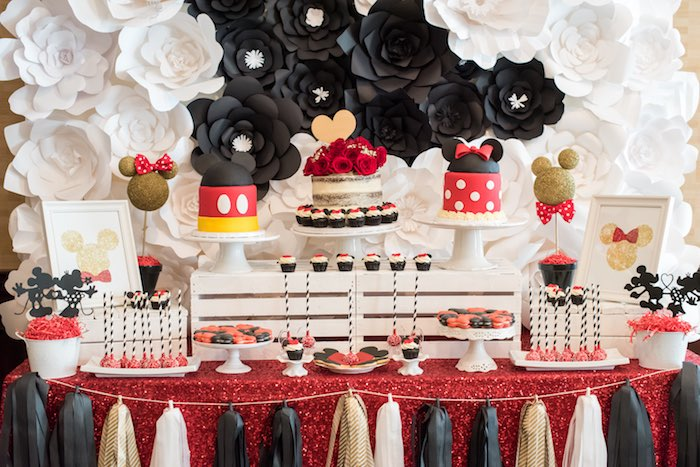 minnie table and chairs eskimo fishing chair kara's party ideas glam mouse birthday |