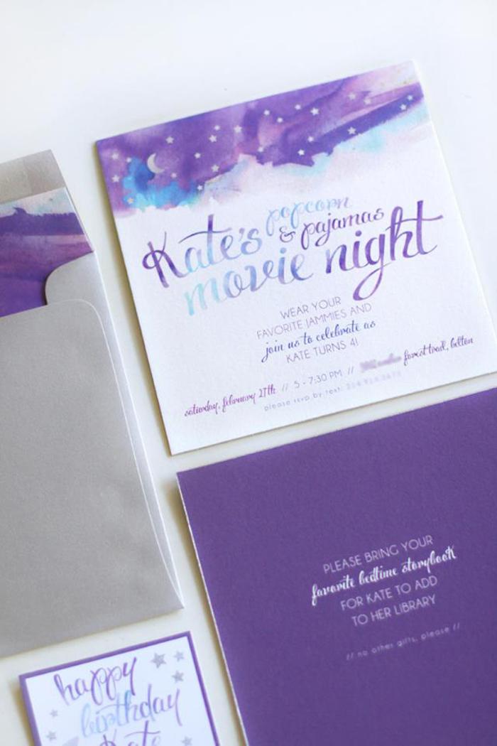 Karas Party Ideas Popcorn  Pajamas Purple Movie Night