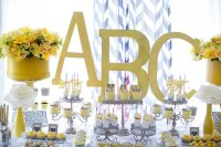 Kara's Party Ideas Yellow & Gray Alphabet Baby Shower