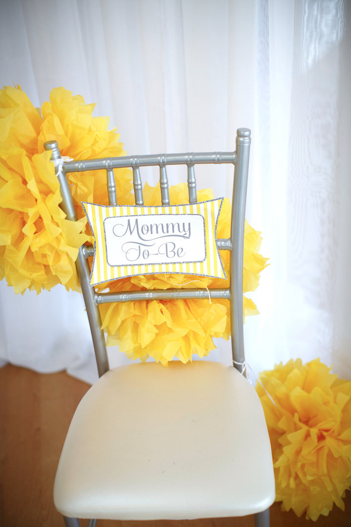 yellow club chair ashley furniture wingback chairs kara's party ideas & gray alphabet baby shower + gender reveal |