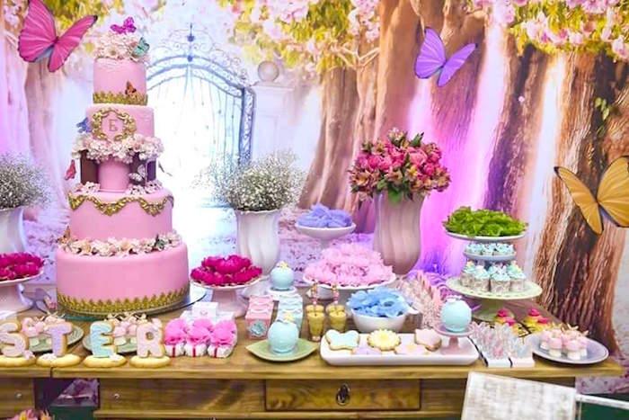 Karas Party Ideas Pink Butterfly Garden Birthday Party