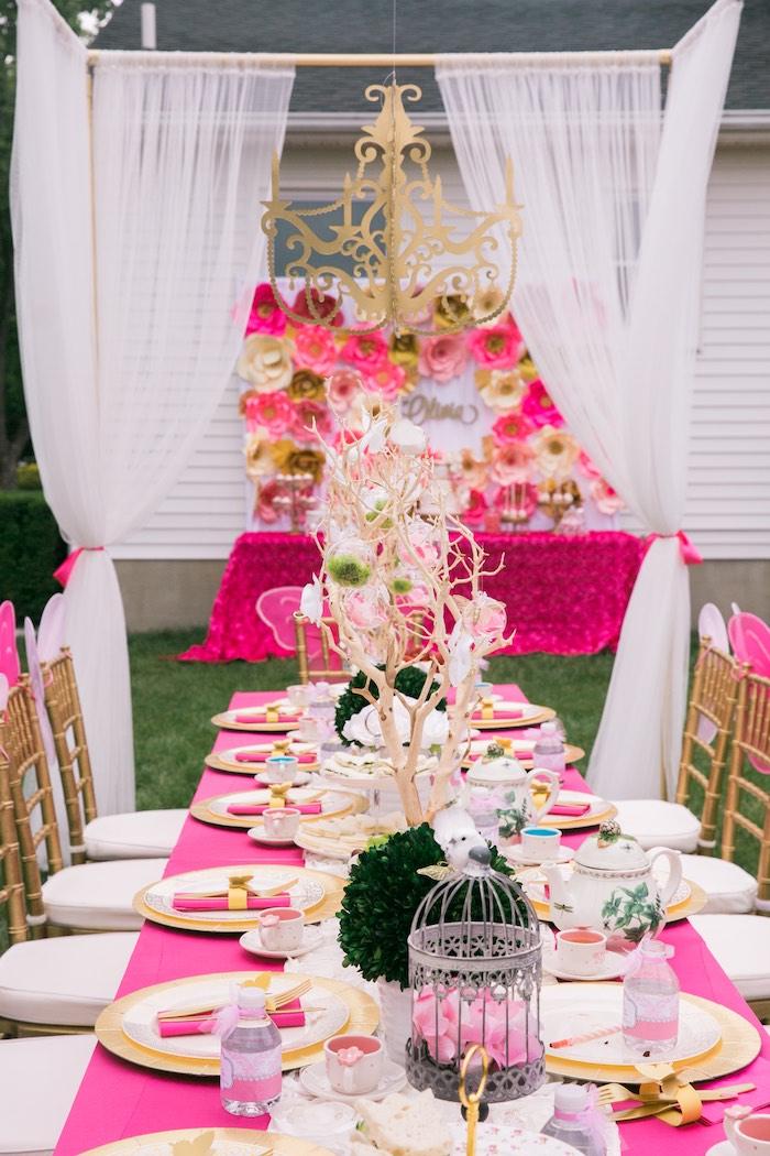 Kara's Party Ideas Pink & Gold Garden Tea Party Kara's Party Ideas