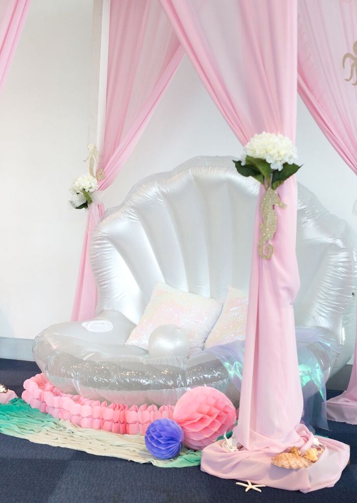 Karas Party Ideas Floral Pastel Mermaid Birthday Party