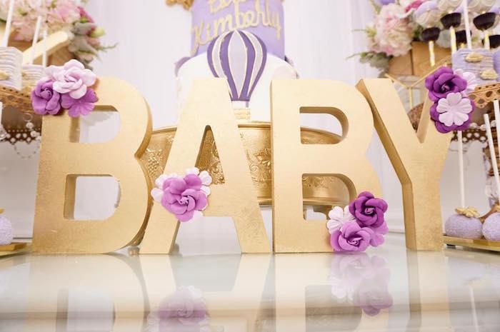Karas Party Ideas Purple Amp Gold Hot Air Balloon Baby