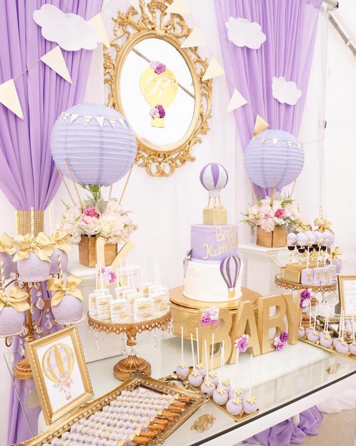 Kara's Party Ideas Purple & Gold Hot Air Balloon Baby