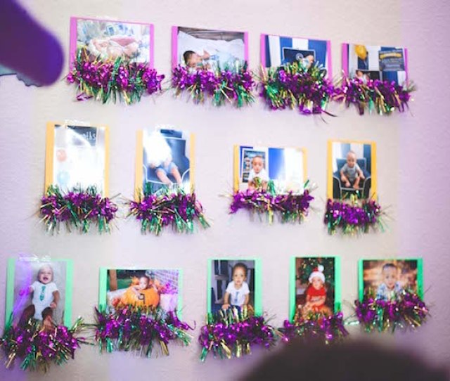 Tinsel Photo Wall Banner From A Mardi Gras Themed Birthday Party On Karas Party Ideas