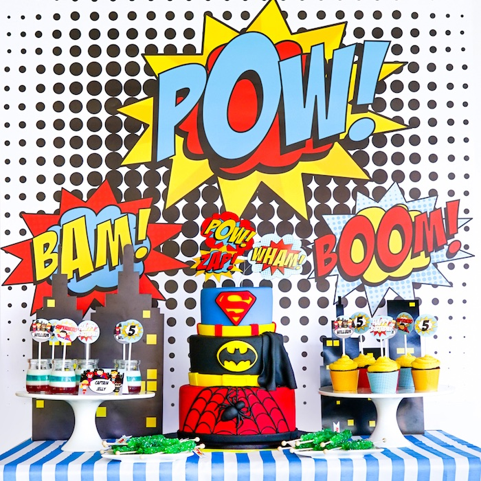 Kara's Party Ideas Bam! Pow! Superhero Birthday Party