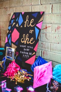 Kara's Party Ideas Geometric Gender Reveal Baby Shower ...